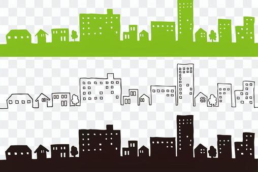 城市景觀手繪插畫