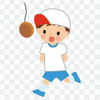 男孩比賽麵包吃