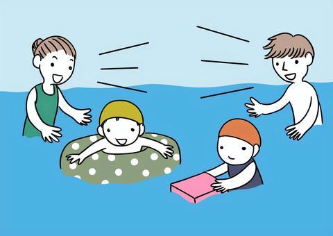 水遊びする親子
