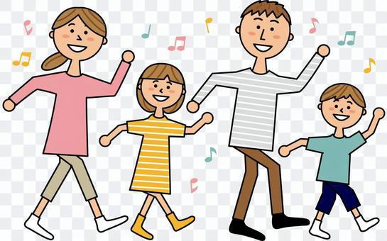 ダンスする親子4人