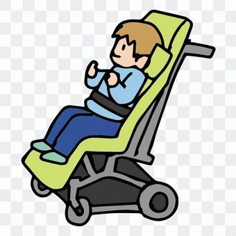車椅子に乗る男の子単体イラスト、児童