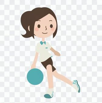 A woman with bowling