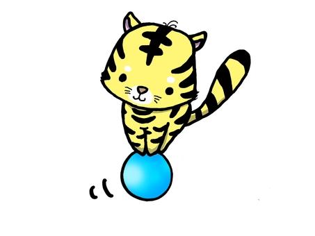 老虎騎球的插圖