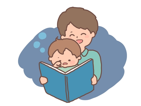 Story-telling of picture books Father and son sleeping