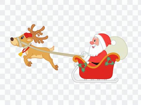 Santa on a reindeer's sled