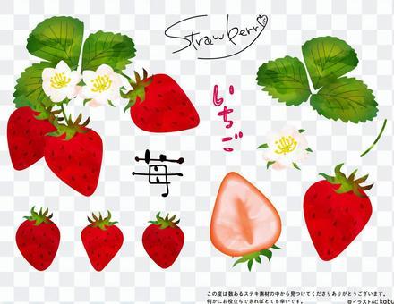 水彩風格草莓圖