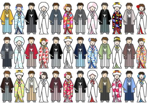 Bride and groom kimono line