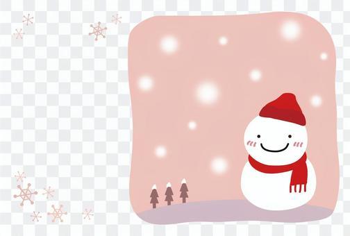 雪だるまの寒中見舞い04【ピンク横】