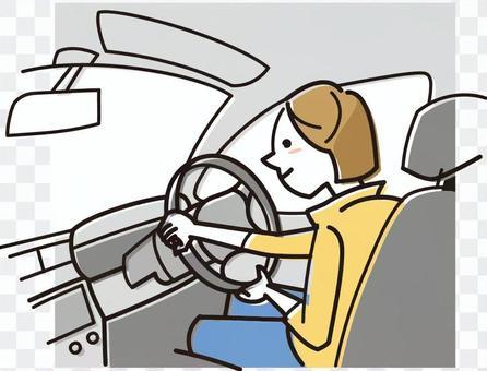 一位女士駕駛一輛汽車