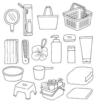 Illustration of bath set (line drawing)