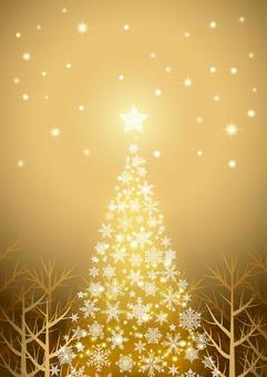 冬の森と星空のクリスマス背景金タテ