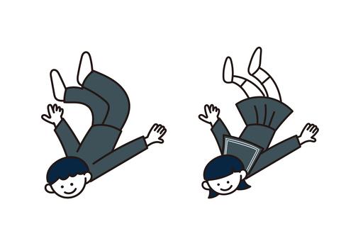 一個活潑的學生(飛行)的插圖