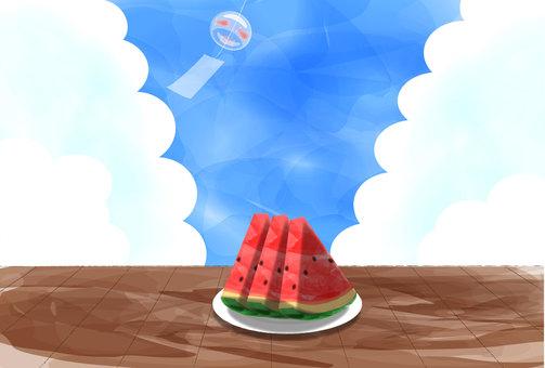 Engawa, wind chimes, watermelon, postcard size, horizontal, dark color