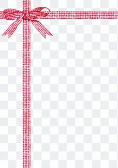 紅色檢查絲帶水彩繪畫·十字架,垂直