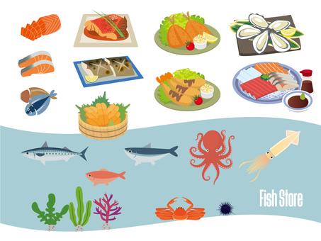 海洋生物 魚店 魚和貝類