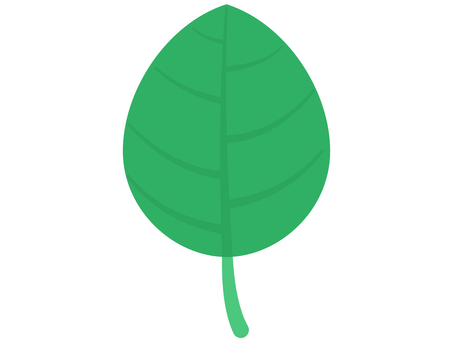 Green leaf icon with veins