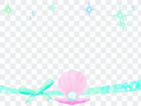 珍珠貝殼和色帶框架1