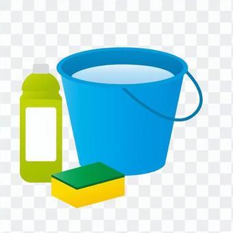 水桶和肥皂和海綿