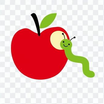 Insect bites that kissed a red apple