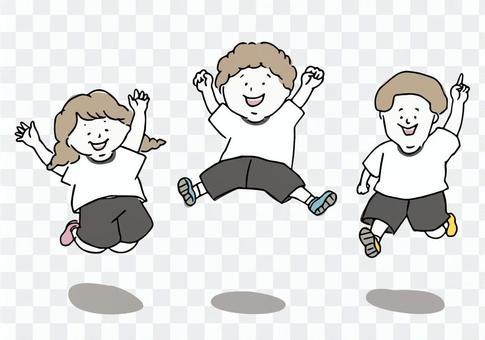 孩子們跳躍