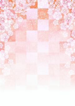 水彩梅花和方格的背景
