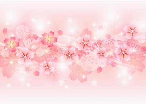 Glitter background of cherry blossoms, staff and streamlines
