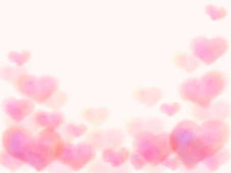水彩心背景/框架(粉紅色)
