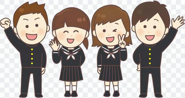 制服男女4人_全身02
