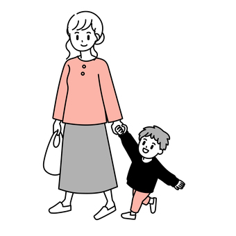 Pregnant woman holding hands with a child