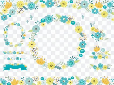 北欧風の花のフレーム(青系)