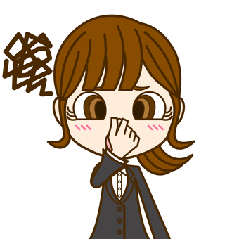 Woman pinching her nose ① / Suit