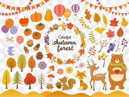 北欧風 秋の森のイラストセット