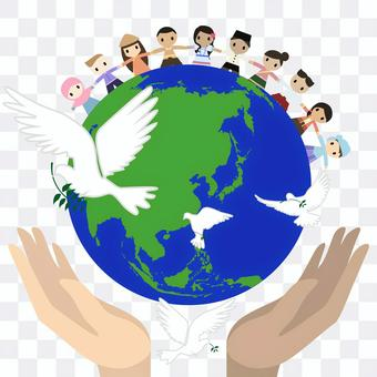Doves and the earth associated with world peace