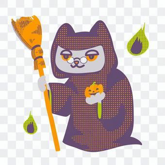 ハロウィン仮装のネコ(魔法使い2)