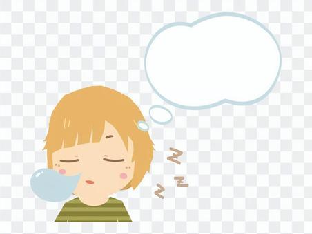 夢を見て眠る女性