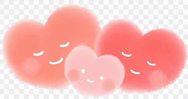 ふんわりハート(赤・ピンク)