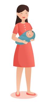 媽媽抱著一個新生的嬰兒