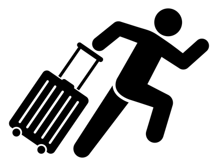 A person who runs with a suitcase