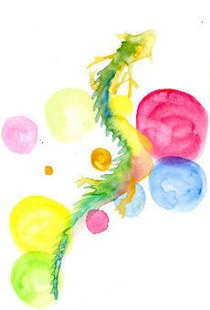 Illustration of rising dragon New year's card