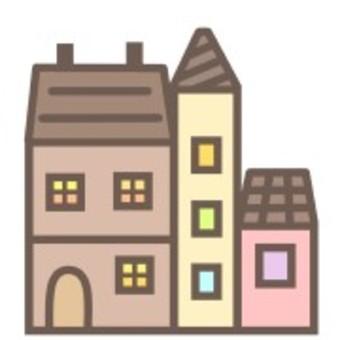 房子可愛的粉彩插圖建築