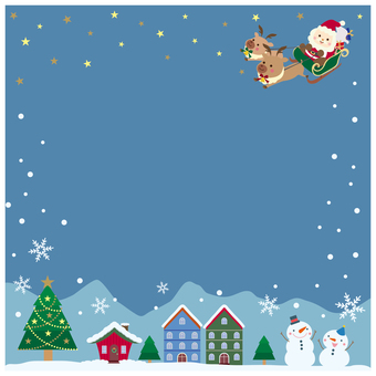 Christmas bright night square frame