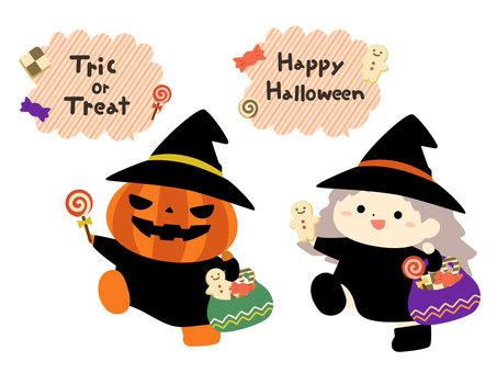 分發萬聖節糖果的女巫和南瓜
