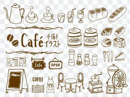 手寫的咖啡館的插圖