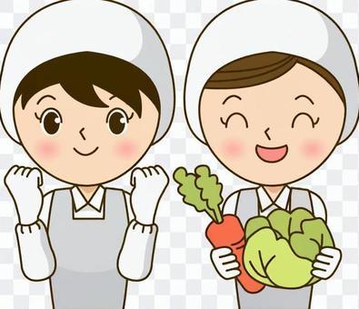 兩名廚師女(帶有膽怯姿勢和蔬菜)