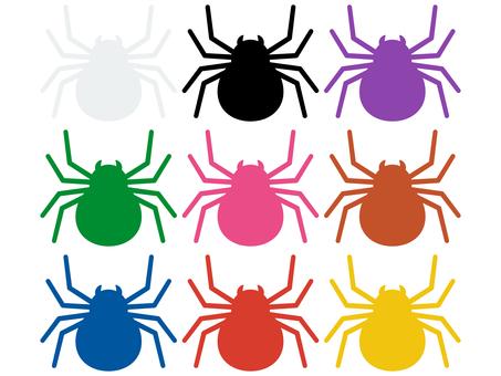Colorful spider silhouette icon set