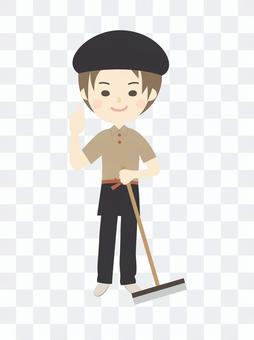 モップ持つおしゃれ制服の男性清掃スタッフ