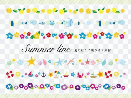 夏天郵票樣式線材料