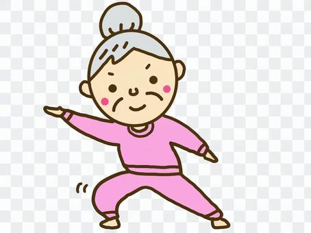 Grandmother posing pink clothes