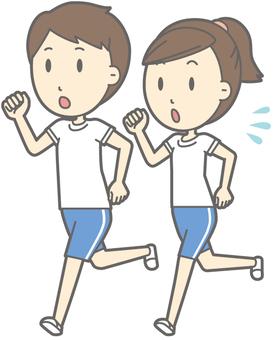 运动服套装男人和女人 - 跑步 - 全身