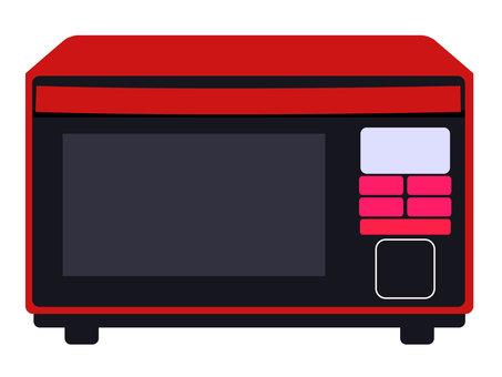 紅色微波爐的插圖
